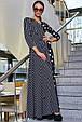Красивое молодежное платье 3374 черный горох-полоска (S-3XL), фото 4