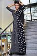 Красивое молодежное платье 3374 черный горох-полоска (S-3XL), фото 5