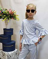 Стильный костюм  для девочки Код 808+807 лето , размеры на рост от 122 до 140 возраст от 6 до 10 лет, фото 1