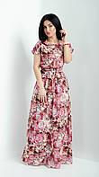 Длинное женское  летнее платье с принтом. Размеры 44-46,48-50,52-54