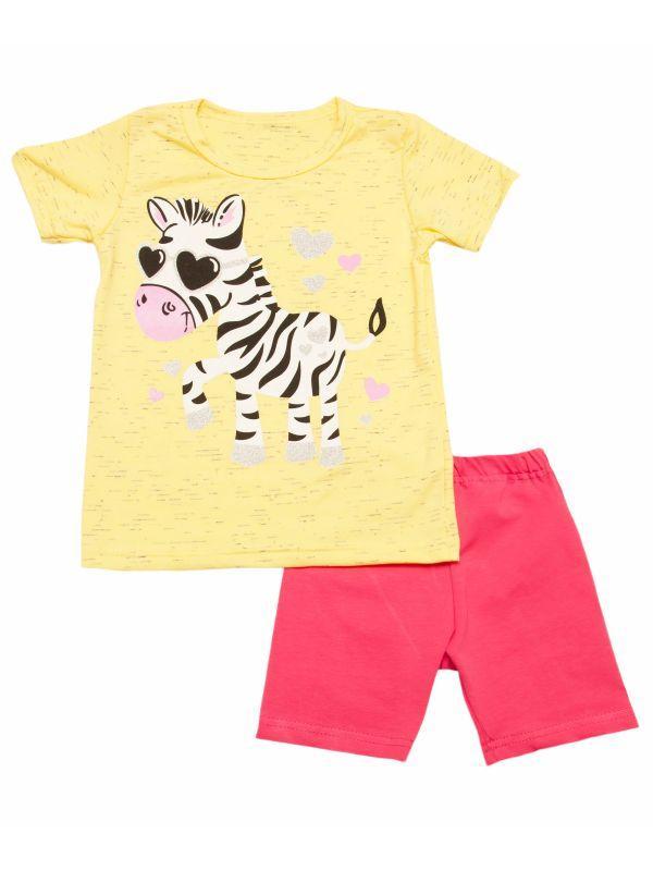 Летний  комплект футболка и шорты для девочки Зебра