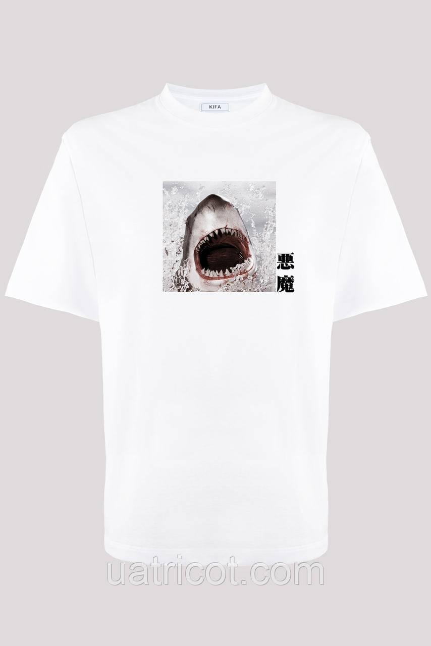 Футболка мужская KIFA ФМХ-019/15 Akuma SHARK белая