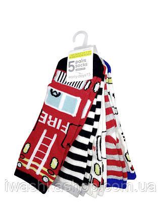 Комплект разноцветных носков с принтами служебных автомобилей на мальчика 6-12 месяцев, р. 15 - 18, Early days