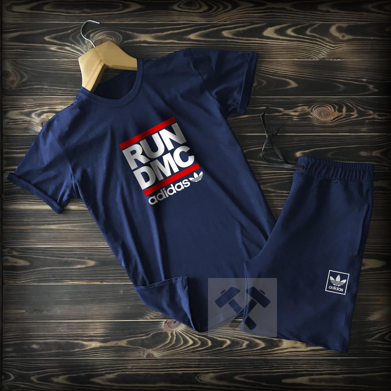 Летний мужской спортивный костюм Adidas синего цвета (Адидас) шорты и футболка 90% хлопок