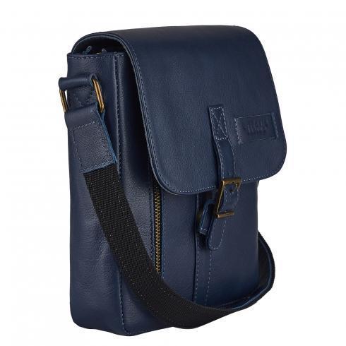 Мужская сумка из натуральной кожи Vittorio Safino синяя VS 001