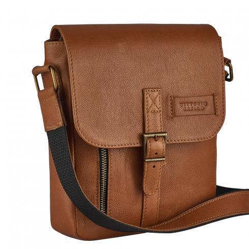 Мужская сумка из натуральной кожи Vittorio Safino рыжая VS 001