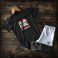Летний мужской спортивный костюм Адидас черно-серый (Adidas) шорты и футболка 90% хлопок