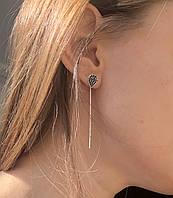 Серьги из серебра 925 My Jewels протяжки капля черный камень