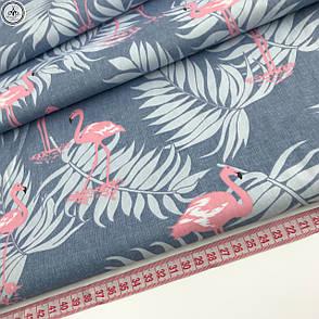 "Сатин ""фламинго с листьями пальмы на серо-голубом"" 160, фото 2"