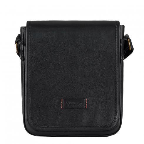Чоловіча сумка з натуральної шкіри Vittorio Safino, чорна VS 021