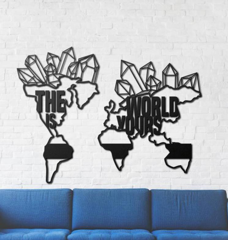 Декоративное панно из дерева The World Is Yours