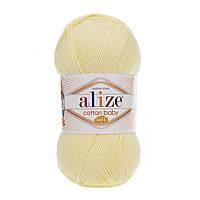 Детская пряжа Alize Cotton Baby Soft 13 светлый лимон (Ализе Коттон Беби Софт)