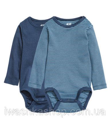Комплект синих боди с длинными рукавами на мальчика 2 - 4 месяца, р. 62, H&M
