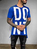Мужская футболка удлиненная синяя DONT PLAY