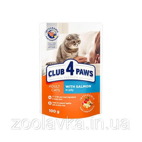 КЛУБ 4 ЛАПИ PREMIUM вологий раціон для дорослих котів з лососем в желе, 100 г