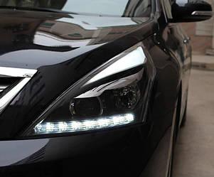 Передние фары Nissan Teana J32 тюнинг Led оптика (линза под ксенон)