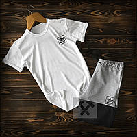 Летние шорты и футболка Adidas Originals черно-белый (спортивный костюм мужской Адидас хлопок)