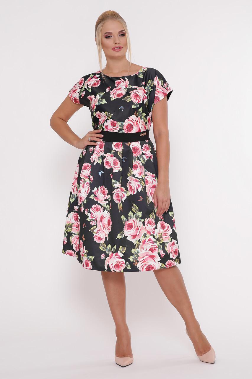 6706230afbb Женское летнее платье Лорен черное Розы (50-54) - цена 795 грн ...