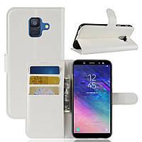 Чехол-книжка Litchie Wallet для Samsung A600 Galaxy A6 2018 Белый