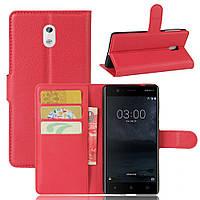 Чехол-книжка Litchie Wallet для Nokia 3 Красный
