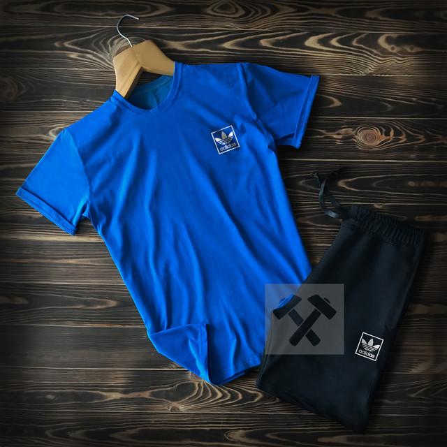Летний мужской спортивный костюм Adidas черно-синего цвета фото