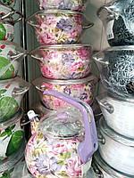 Кастрюли эмалированные розовые розы Турция
