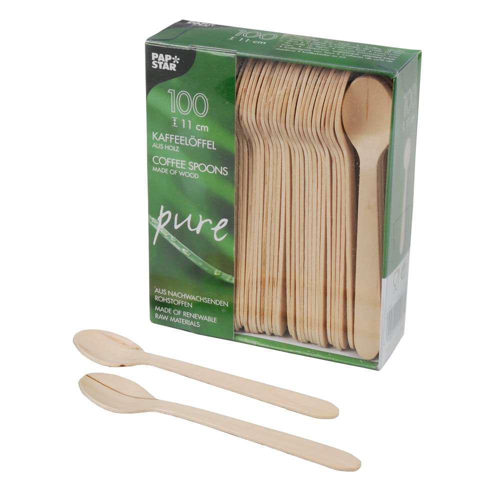 Ложка деревянная кофейная Pap Star 100шт/уп