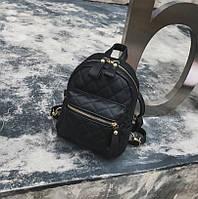 Маленький женский рюкзак стеганный Черный
