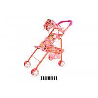 Коляска летняя для кукол с корзинкой,козырьком, трость, металлическая,816A