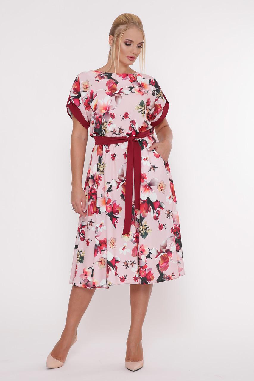 Красивое женское платья Ирина пудра (52-58)