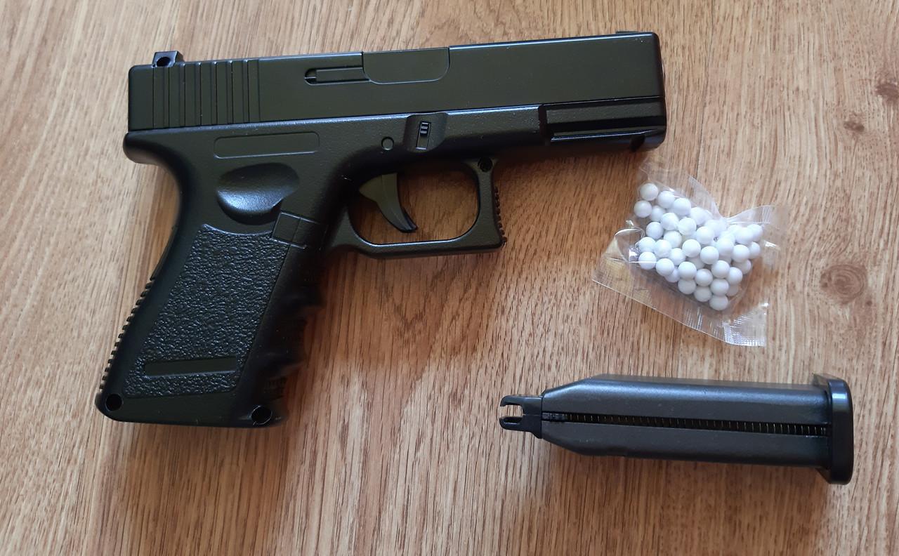 Игрушечный детский пневматический пистолет Глок 17 (Glock 17) G15 Металлический с пулями в комплекте