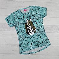 Детская футболка для девочек 7-8, 8-9 лет ( пайетка перевертыш)