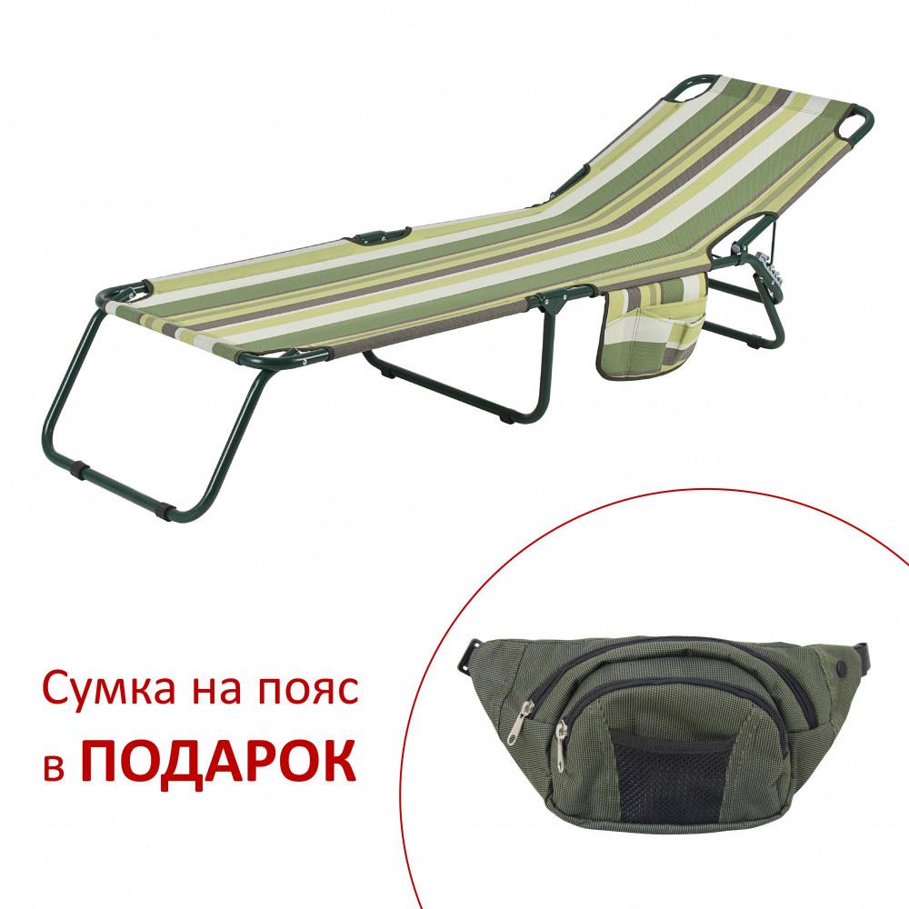 """Раскладушка """"Диагональ"""" d22 мм (текстилен зеленая полоса)"""
