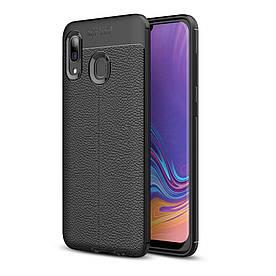 Чехол накладка для Samsung Galaxy A40 A405FD силиконовый, Фактура кожи, черный