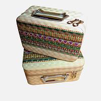 Набір бьюті-кейсів для зберігання косметики та аксесуарів (орнамент, бежевий)