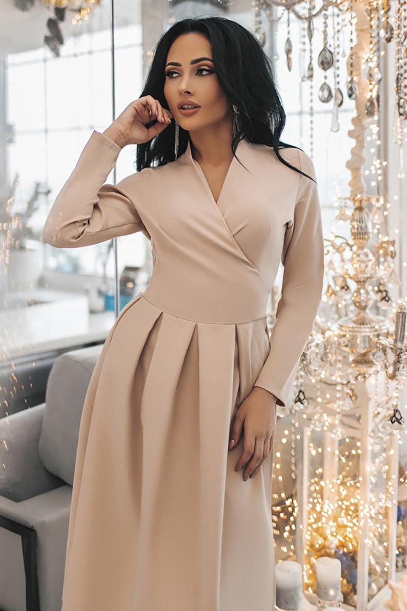 S, M, L, XL / Изысканное вечернее платье на запах Janise, бежевый