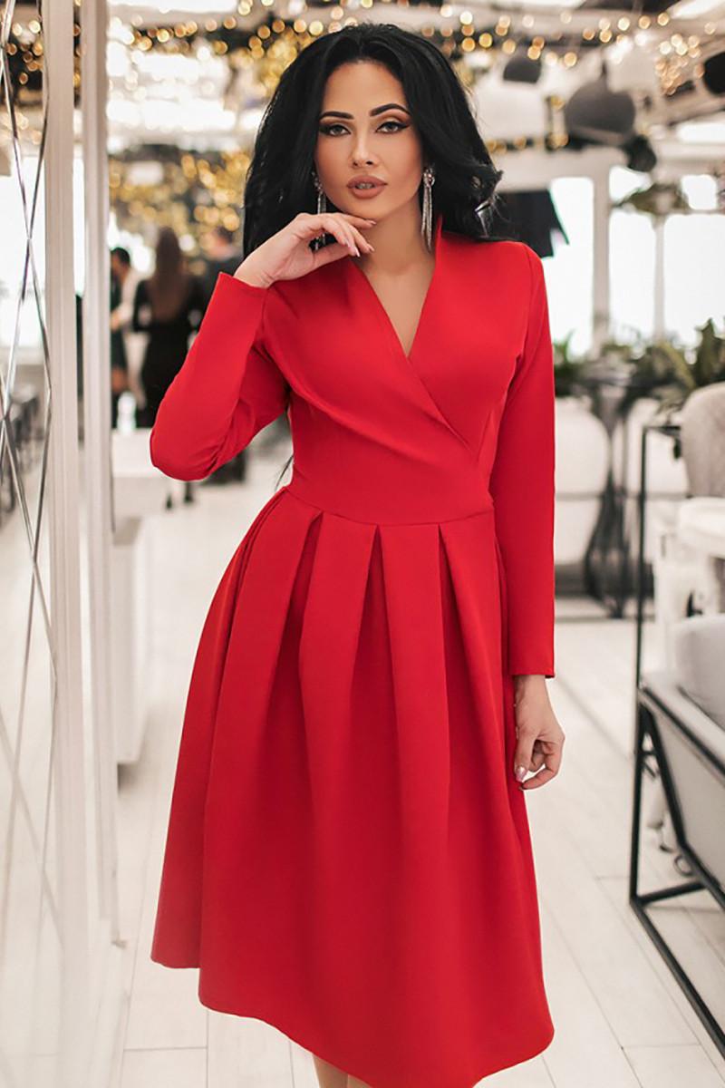 S, M, L, XL / Изысканное вечернее платье на запах Janise, красный