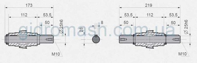 Размеры валов NMRV-063
