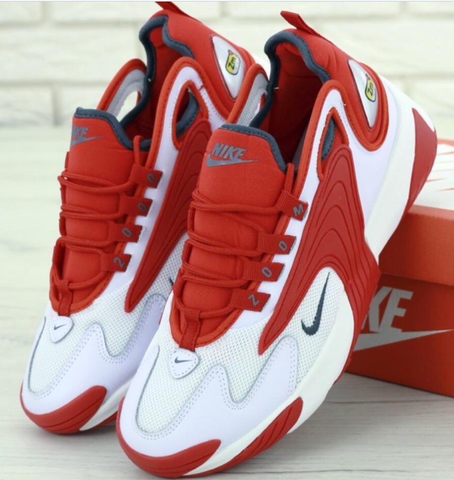 Мужские Кроссовки Nike Zoom 2K, Найк Зум белые с красным