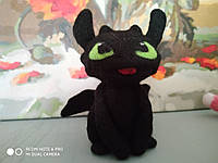 Валяная игрушка Дракон Черная Фурия из шерсти Беззубик милый подарок Как приручить дракона