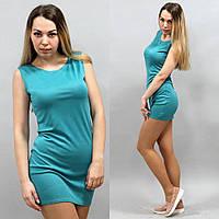 Платье женское голубого цвета до середины бедра