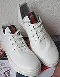 Gucci! Белого цвета  красивые кожаные кеды мокасины женские слипоны в стиле Гуччи, фото 6