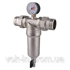 """Самопромывной фильтр TIEMME 3/4"""" для горячей воды (манометр+штуцера)"""