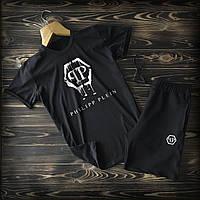 Летний мужской спортивный костюм Philipp Plein (Филип Плейн) шорты и футболка черного цвета