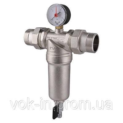 """Самопромывной фильтр TIEMME 1 1/4"""" для горячей воды (манометр+штуцера)"""
