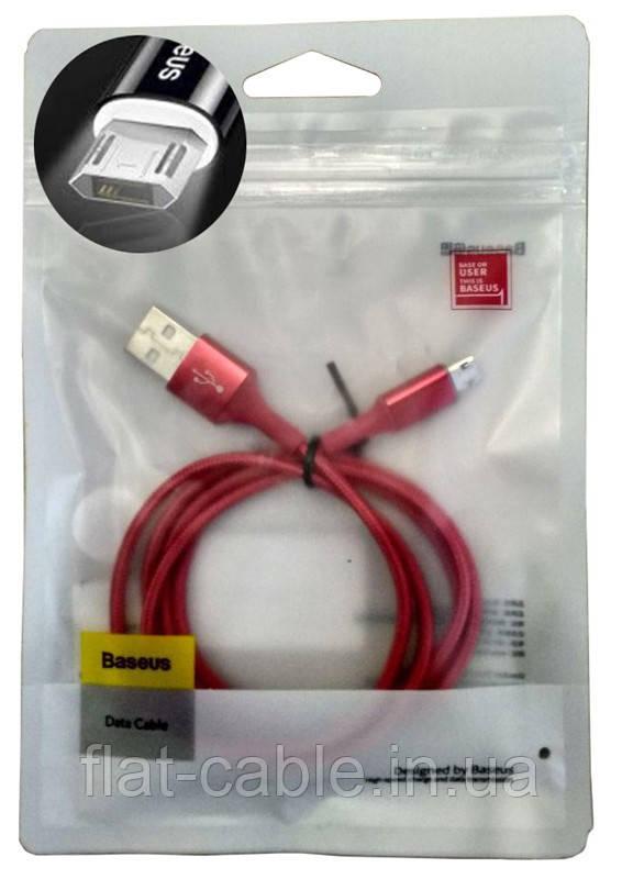 Usb cable Baseus Micro USB (Camsy-BO9)(100см) Кабель Красный с LED подсветкой