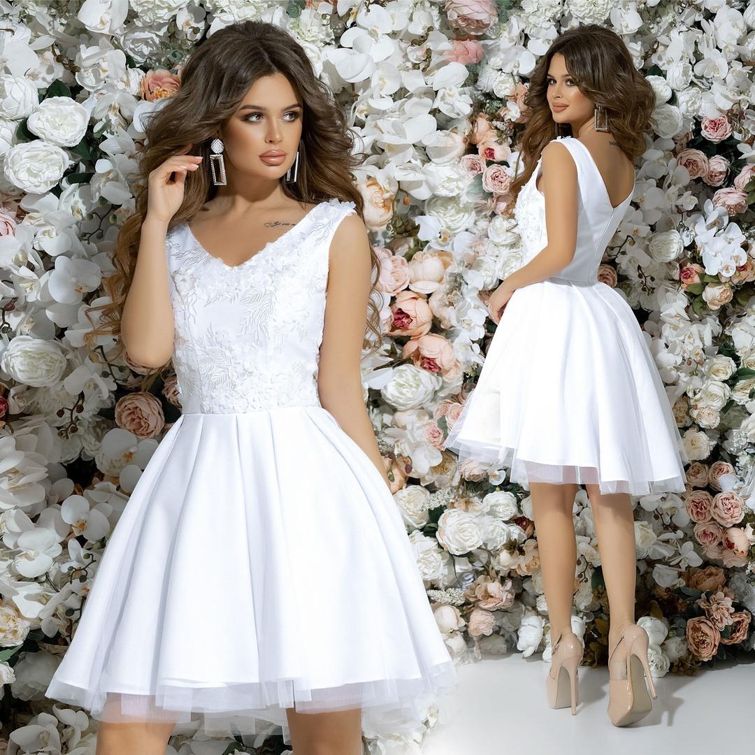 """Нарядное коктейльное мини-платье """"Мирабель"""" с гипюром и сеткой (2 цвета)"""