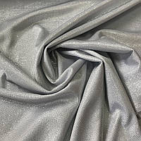 Трикотаж с блестками Диско серебристого цвета, ширина 150 см