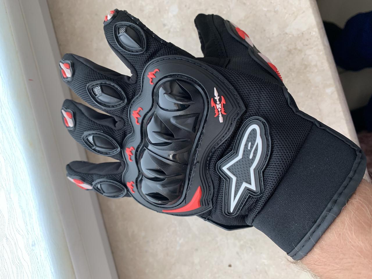 Защитные мото перчатки с костяшками Alpinestars мотоперчатки
