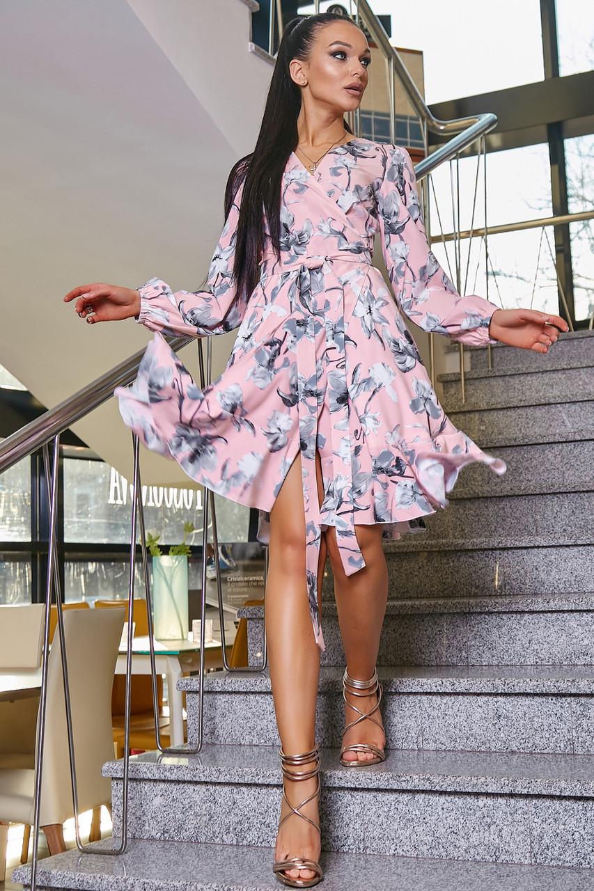 Красивое летнее женское платье 3363 персик с серыми лилиями